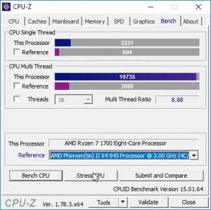p09 R7-1700 oc CPU-Z bench vs PhenomII X4 945