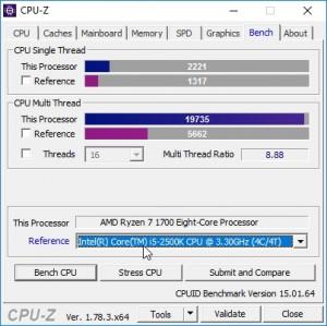 p10 R7-1700 oc CPU-Z bench vs i5-2500K