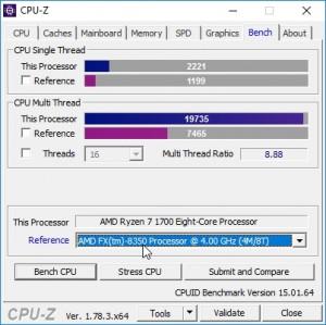 p11 R7-1700 oc CPU-Z bench vs FX-8350