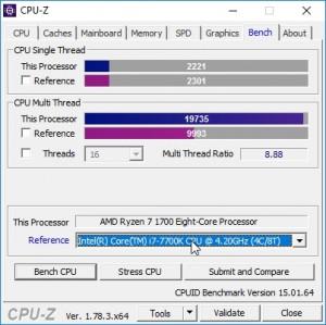 p13 R7-1700 oc CPU-Z bench vs i7-7700K