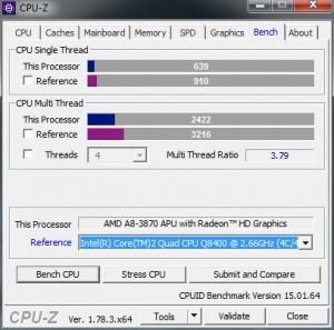 p08 A8-3870K base CPU-Z bench vs C2Q Q8400