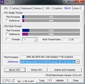p09 A8-3870K base CPU-Z bench vs PhenomII X4 945