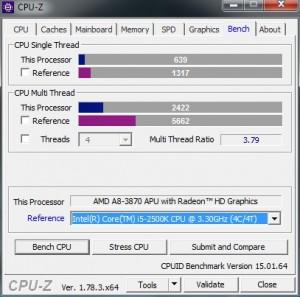 p10 A8-3870K base CPU-Z bench vs i5 2500K
