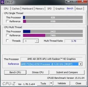 p11 A8-3870K base CPU-Z bench vs FX-8350