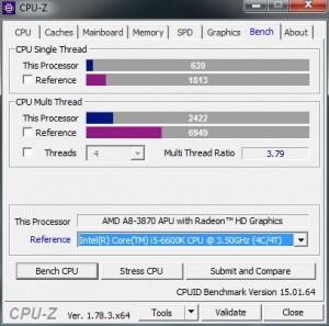 p12 A8-3870K base CPU-Z bench vs i5-6600K