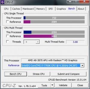 p13 A8-3870K oc2 CPU-Z bench vs i7-7700K
