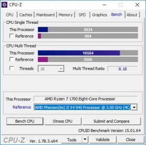 p09 R7-1700 default CPU-Z bench vs PhenomII X4 945