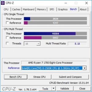 p10 R7-1700 default CPU-Z bench vs i5-2500K