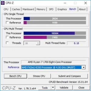 p11 R7-1700 default CPU-Z bench vs FX-8350